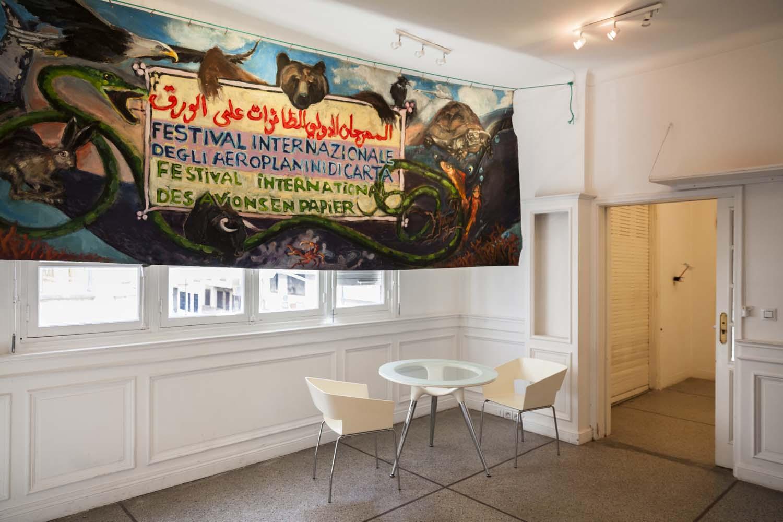 Exposition Côte à Côte (Festival International des Avions en Papier), de Yassine Balbzioui et Matteo Rubbi au Cube à Rabat 2015. Ph: Baptiste de Ville d'Avray